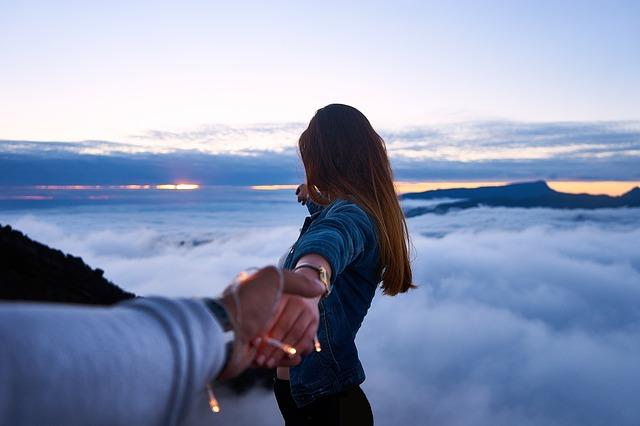 láska, zasnoubení, hory, pár, oblaka
